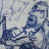 [ A drawing done in blue pen of a bearded man wearing glasses on a laptop. ]